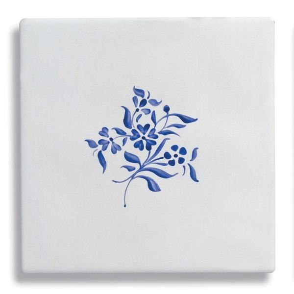 Carrelage mural en fa ence comtesse d cor sceau bleu herbeau for Carrelage faience bleu
